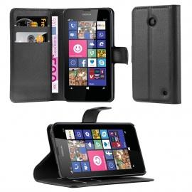 Cadorabo Coque pour Nokia Lumia 630/635 en Noir DE Jais - Housse Protection avec Fermoire Magnétique, Stand Horizontal et Fen