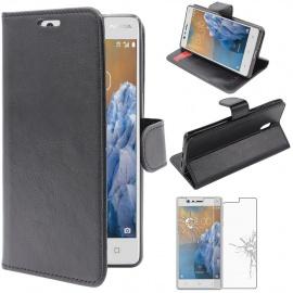 ebestStar - Coque Nokia Nokia 3 Etui PU Cuir Housse Portefeuille Porte-Cartes Support Stand, Noir + Film Protection écran Ver