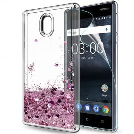 LeYi Coque Nokia 3 Etui avec Film de Protection écran, Fille Personnalisé Liquide Paillette Flottant Transparente 3D Silicone