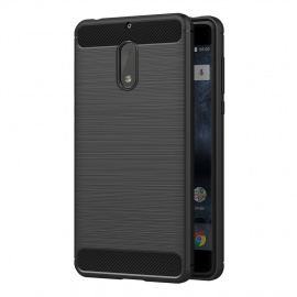 AICEK Coque Nokia 6, Noir Silicone Coque pour Nokia 6 Housse Fibre de Carbone Etui Case  5,5 Pouces
