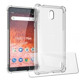 """LJSM Coque + Verre trempé pour Nokia 1 Plus  5.45""""  - Ultra Mince Cristal Limpide Étui de Protection Absorption de Choc avec"""