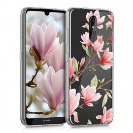 kwmobile Coque Nokia 3.2  2019  - Coque pour Nokia 3.2  2019  - Housse de téléphone en Silicone Rose Clair-Blanc-Transparent