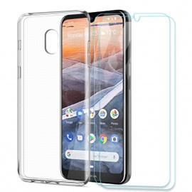"""Coque Nokia 3.2,Souple Transparent Silicone TPU Housse Étui de Protection pour Nokia 3.2  6,2""""  avec Deux Verre trempé écran"""