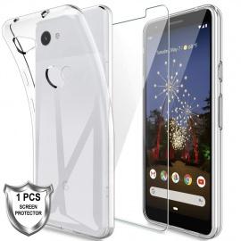 LK Coque pour Google Pixel 3a, Souple Flexible Silicone Gel Housse TPU Case Cover avec Verre Trempé Protection écran[1 Pièces