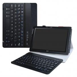 Acer Iconia One 10 B3-A40 Clavier Bluetooth Coque,Détachable Clavier Bluetooth PU Cuir Support Multi Angles Housse Coque Étui