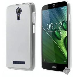 htdmobiles Housse Etui Coque Pochette Silicone Gel Fine pour Acer Liquid Zest Plus Z628 + Film ecran - Blanc Transparent
