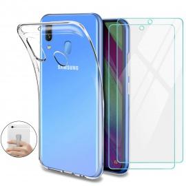 Younme Coque Samsung Galaxy A40 Silicone Transparente, [Lot de 2] Verre trempé écran Protecteur + Souple TPU Étui Protection