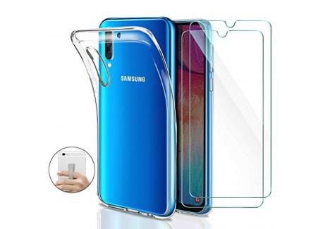 Younme Coque Samsung Galaxy A50 Silicone Transparente, [Lot de 2] Verre trempé écran Protecteur + Souple TPU Étui Protection