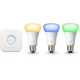 Philips Kit de démarrage 3 ampoules Hue White and Color E27 + pont de connexion Hue 3ème génération