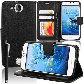 VCOMP® Housse Coque Etui Portefeuille Support Video Livre Rabat Cuir PU pour Acer Liquid Jade S S56 + Stylet - Noir