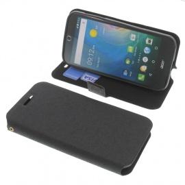 foto-kontor Housse pour Acer Liquid Z330 Liquid M330 Style Livre Noir Coque de Protection Portefeuille