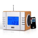 August MB300 Radio-réveil / Cube lecteur MP3 avec Radio FM, lecteur de carte, port USB et entrée AUX prise 3,5 mm, 2 haut-parleu