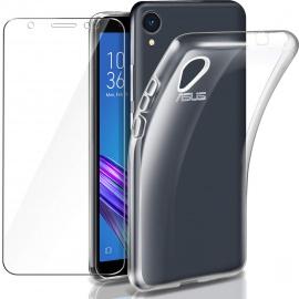 Leathlux Coque ZenFone Live  L1  ZA550KL Transparente + Verre trempé écran protecteur, Souple Silicone Étui Protection Bumper