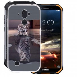 HHUAN Coque pour Doogee S40 Semi-Transparent Cover Souple Silicone Gel Antichoc TPU Tigre et Chat Housse Etui Protection Bump