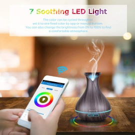 Alexa Diffuseur dHuiles Essentielles WiFi, Maxcio 400ml Humidificateur dAir Smart Diffuseur Parfum avec Lumières Colorées C