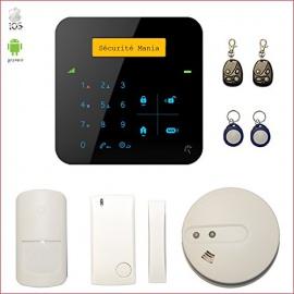 Alarme maison sans fil A9 GSM avec détecteur de fumée connecté - Appartement T2 / T3