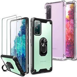 Milomdoi [4 unités] 2 Pcs Coque pour Samsung Galaxy S20 FE [4G&5G] + 2 Pack Verre Trempé [Dos en Plastique Dur&Cadre TPU Flex