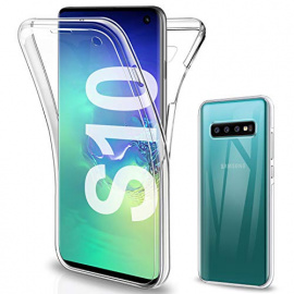 Gnews Coque Compatible avec Samsung S10 Etui, Samsung S10 Coque Transparent Silicone TPU Case Intégral 360 Degres Full Body P