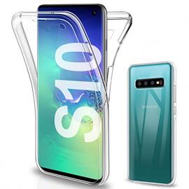 Gnews Coque Compatible avec Samsung S10 Etui, Samsung S10 Coque Transparent Silicone TPU Case Intégral 360 Degres Full Body P
