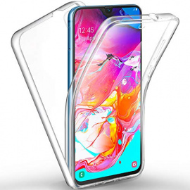 AROYI Cover Samsung Galaxy A70, Samsung Galaxy A70 Custodia Transparent Silicone TPU e PC Full Body Protettiva Premium Resist