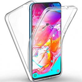 AROYI Cover Samsung Galaxy A70, Samsung Galaxy A70 Custodia Transparent Silicone TPU e PC Full Body Protettiva Premium Resist