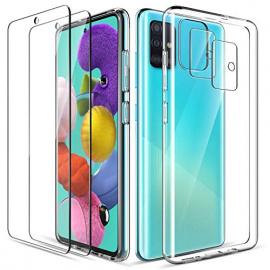 LK Clair Coque Compatible avec Samsung Galaxy A51, 2 pièces Verre trempé Protection écran &2 pièces Caméra Arrière Protecteur