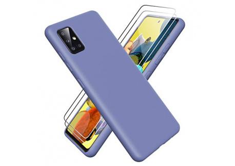 Oududianzi Coque pour Samsung Galaxy A51 5G + [2 Pièces] Verre Trempé écran Protecteur, [Ultra Mince] Étui Souple de Silicone