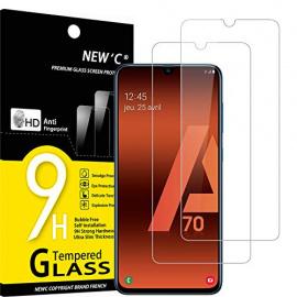 NEWC Lot de 2, Verre Trempé Compatible avec Samsung Galaxy A70,Film Protection écran sans Bulles dair Ultra Résistant  0,33