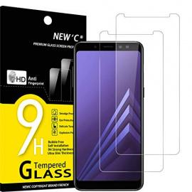 NEWC Lot de 2, Verre Trempé Compatible avec Samsung Galaxy A8  2018  Film Protection écran sans Bulles dair Ultra Résistant