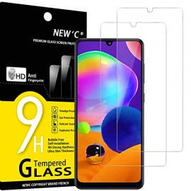 NEWC Lot de 2, Verre Trempé Compatible avec Samsung Galaxy A31, Film Protection écran Ultra Résistant  0,33mm HD Ultra Trans