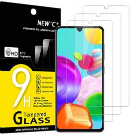 NEWC Lot de 3, Verre Trempé Compatible avec Samsung Galaxy A41, Film Protection écran Ultra Résistant  0,33mm HD Ultra Trans