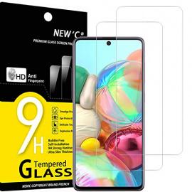 NEWC Lot de 2, Verre Trempé Compatible avec Samsung Galaxy A71, Note 10 Lite, Film Protection écran Ultra Résistant  0,33mm