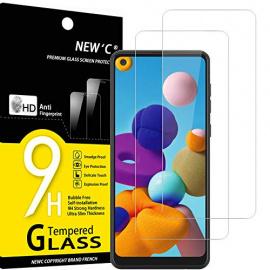 NEWC Lot de 2, Verre Trempé Compatible avec Samsung Galaxy A21, Film Protection écran Ultra Résistant  0,33mm HD Ultra Trans