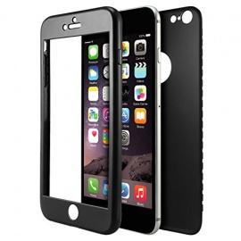 Coque iPhone 6 / 6S Noir Anti-Choc Avant et Arrière + écran verre trempé Housse Etui TPU en Silicone