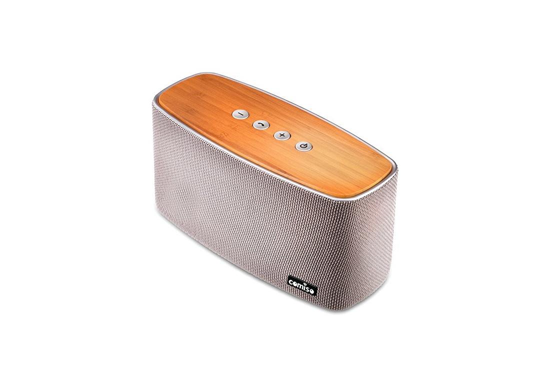 haut parleur bluetooth st r o 30w comiso nature audio gris fait main bambou bois maison. Black Bedroom Furniture Sets. Home Design Ideas