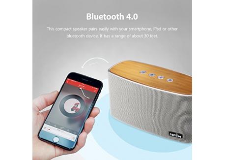 [Haut-Parleur Bluetooth Stéréo 30W] COMISO [Nature Audio] [Gris] Fait Main Bambou Bois Maison Enceinte avec (Basses Puissantes,