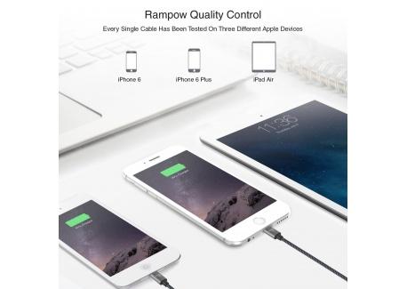 Câble iPhone USB 2 m Rampow® MFI certifié Apple en Fibre de Nylon Tressé - Charge rapide - Gris sidéral