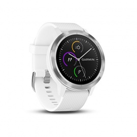 Garmin Vivoactive 3 - Montre Connectée de Sport avec GPS et Cardio Poignet - Silver avec Bracelet Blanc