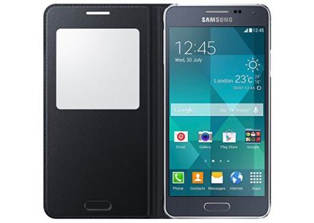 Samsung S-View Case Cover for Samsung Galaxy Alpha - Noir