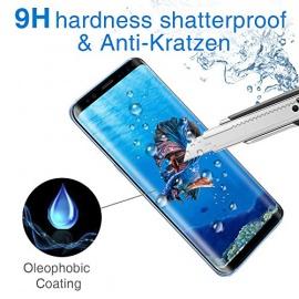 Verre Trempé pour Samsung Galaxy S8, 3D Film de Protection en Verre Trempé, 3D Touch Compatible, Dureté de 9H, Épaisseur de 0,33