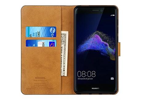 Coque Huawei P8 Lite 2017, HOOMIL Housse en Cuir Premium Flip Case Portefeuille Etui pour Huawei P8 Lite 2017 (H3175, Noir)