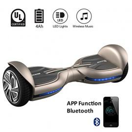 """EVERCROSS Q3 Hoverboard électrique 6,5"""" Skateboard électrique Gyropode Certifié Norme UL2272 Marron"""
