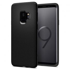 Spigen Coque Samsung Galaxy S9, [Liquid Air] Souple, Couleur Matte, Silicone, Protection Fine [Noir Matte] Coque Housse Etui pou