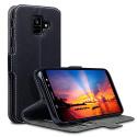Coque Samsung A6 2018, Étui Housse en Cuir Ultra-mince Avec La Fonction Stand Noir