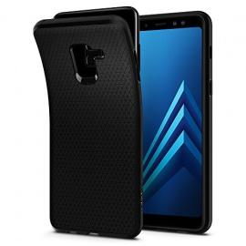 Spigen Coque Samsung Galaxy A8 2018, [Liquid Air] Souple, Noir Matte, Silicone, Protection Fine, Coque Housse Etui pour Samsung