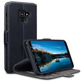 Coque Samsung Galaxy A8 2018, Étui Housse en Cuir Ultra-mince Avec La Fonction Stand Noir