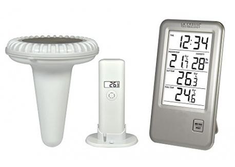 La Crosse Technology WS9068 Station de température avec sonde pour piscine - Argent