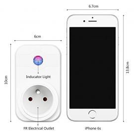 Intelligente PriseWiFi,Prise Connectée Intelligente WiFi Prise Compatible avec Android iOS Alexa Prises Télécommandées Prise Cou