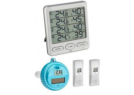 TFA Dostmann Climat Moniteur Plus TFA 30.3054.10. Plus Station Thermomètre Hygromètre avec piscine émetteur, gris