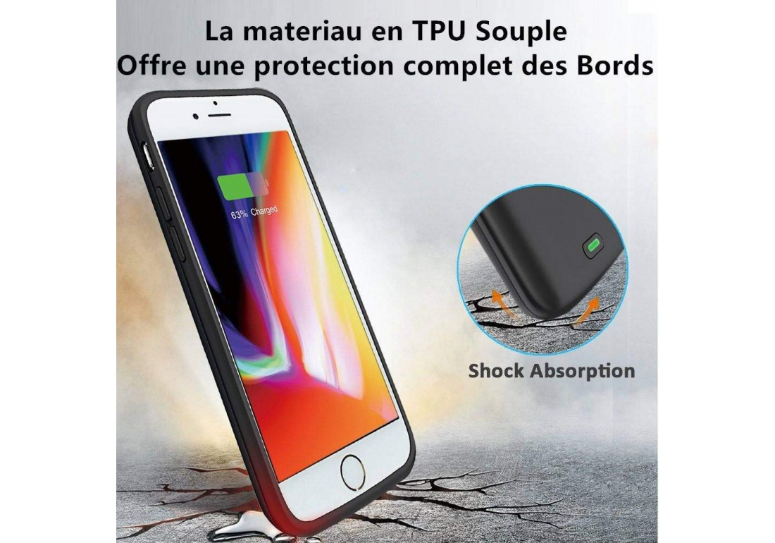 coque rechargeable iphone 8 10000mah